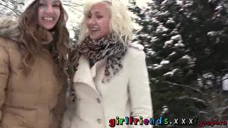 Girlfriends play outside before blonde eats brunettes pussy