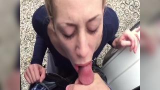 Outside quickie and cum swallow